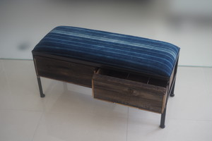 品番UAI2-126  2drawer ottoman[narrow/African indigo batik tribal]