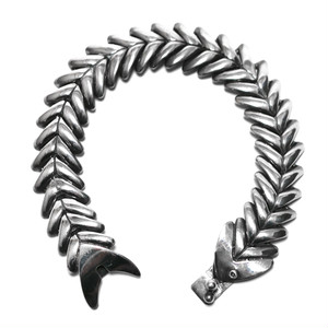 Vintage Sterling Silver Mexican Fishbone Link Bracelet