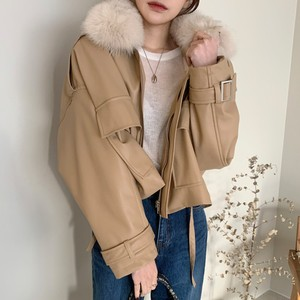 2色 casual ファー付きPUレザージャケット c2196