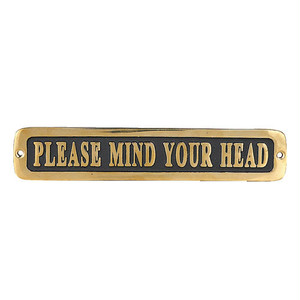 "【GS559-326MYH】Brass sign ""PLEASE MIND YOUR HEAD"" サイン / 真鍮 / 頭上注意 / アンティーク"