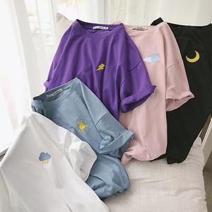 【トップス】合わせやすい半袖スウィート刺繍ラウンドネックプルオーバーTシャツ20697945