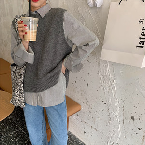 〈カフェシリーズ〉バックデザインニットベスト【back design knit vest】