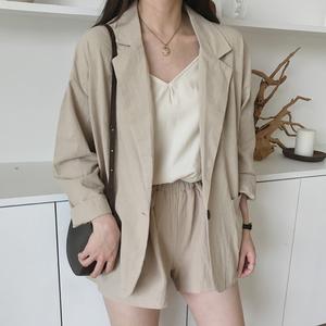 【セットアップ】二色展開無地Vネック折襟スーツジャケット/ショートパンツ2点セット22407508