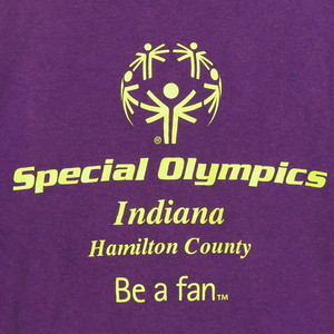 USA古着プリントTシャツM紫Special Olympics Indiana50/50極美品