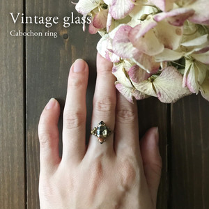 Cabochon ring [Olive green] 3〜20号