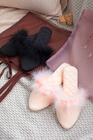 Sheer Tote bag set fur room mules
