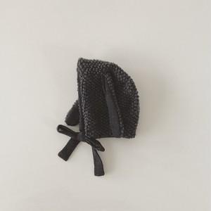 pocopoco rabbit bonnet : charcoal gray (size XS,S,M)
