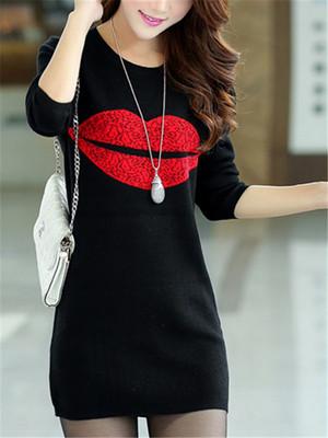 【dress】Long sleeve round neck lip print knitted dress
