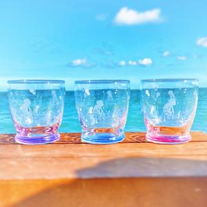 【3色 セット販売】 涼し気 な クラゲ の グラス タンブラー ショート  280ml