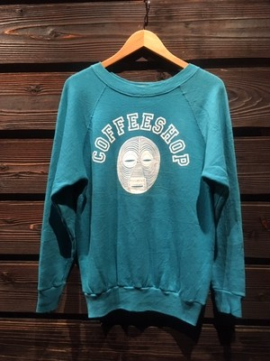 KAYA  Vintage Raglan Sleeve Coffee Shop Tourquise  Mサイズ