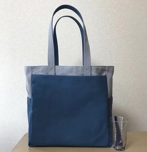 (受注生産)「ボックストート」 大サイズ 「グレー×ミネラルブルー」帆布トートバッグ  倉敷帆布8号