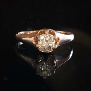 Old Mine cut Diamond Solitaire Ring
