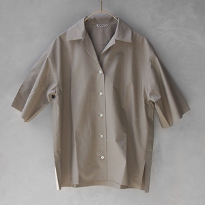 AURALEE SELVEDGE WEATHER CLOTH HALF SLEEVED SHIRTS GRAY BEIGE