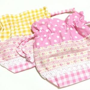 ミニ巾着♡コップ袋にも♪♪ピンク花柄