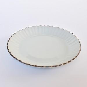 [KR21223] 九谷の白 花びら大皿/ Kutani White Oval Plate/ Showa Era