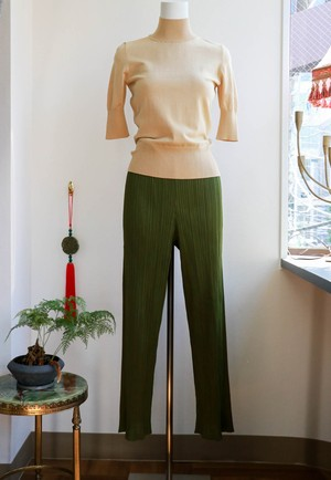 ISSEY MIYAKE PLEATS PLEASE Olive green pants