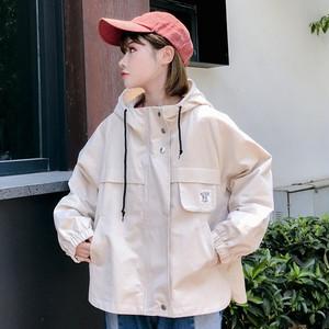 【アウター】配色フード付きゆるいジャケット