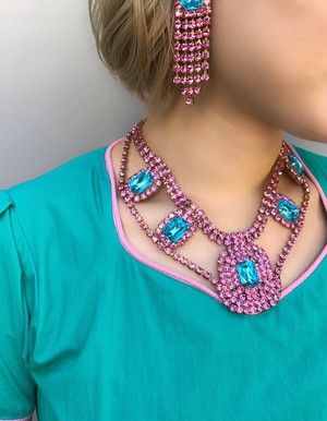 70s-80s Czech Necklace ( ヴィンテージ  ピンク × 水色 チェコガラス ネックレス )