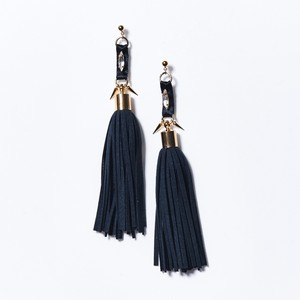 SATIN BIJOU STUDS TASSEL EARRINGS