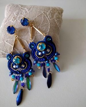 【ピアス】JUL-P3 blue x turquoise soutache