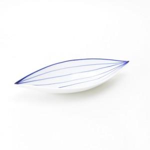 葉脈葉型24cm皿 [ 24 x 10 x 高さ3.5cm ] 【涼彩】
