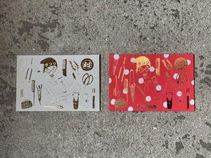 ニューオダ理容室 メリークリスマスカード 箔押し 10枚セット