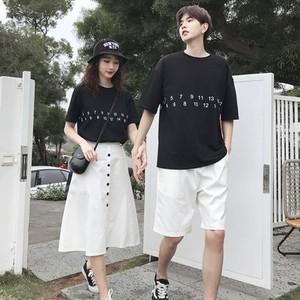 ナンバー Tシャツ スカート 0756 メンズハーフパンツ セットアップ カップル ペアルック リンクコーデ カジュアル お揃い デート