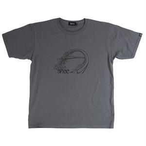 後染めプリントTシャツ:チャコール