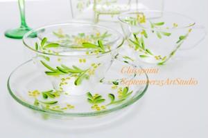 【ミモザ】ティーカップ&ソーサ1つ(手描きガラス絵付け)/母の日ギフト・誕生日プレゼント・結婚祝い・退職祝い
