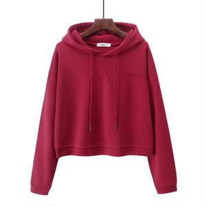 1009レディーストップス ヒップホップダンスウェア ダンス衣装 長袖 ショート丈 パーカー 無地 ゆったり 赤 レッド
