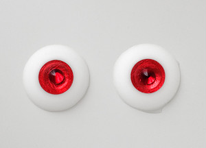 Silicone eye - 19mm Metalized Red with Smaller Ruby Jewel (Austrian Crystal Stone) for 17mm