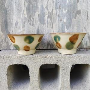 4寸マカイ一枚焼き/ワイルド三彩(緑と茶)