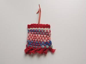 手織り レインボー染め キーケース 赤