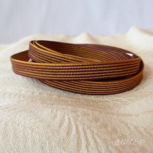 正絹 茶と辛子色の縞の三分紐