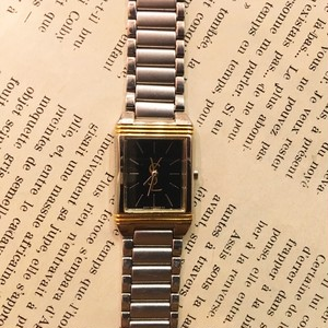 YSL square face stainless watch