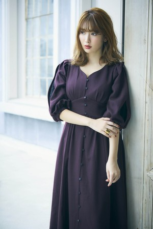 Inner Lace Sleeve One-Piece〈Burgundy〉