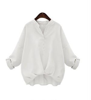 【Lサイズ/ホワイト/長袖】バルーン ブラウス 襟 タック シャツ シンプル ゆるふわ 大人 かわいい オフィス カジュアル トップス エレガント レディース mmab149