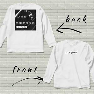 両面プリントロングスリーブTシャツ【my pace】ホワイト