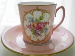 vintage デミタスカップ&ソーサー(ピンクVZ1127)