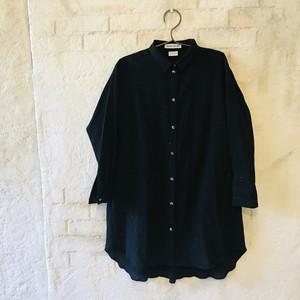 4145857f1f688 キッズ 遠州織物ネップミックス×ワッシャー コンビシャツワンピース Black