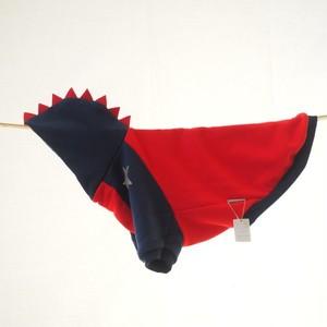 【3L】赤×紺の怪獣フード 犬服・中型犬