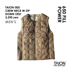 [ 今なら送料無料!! ] 【メンズ】TAION-005 CREW NECK W-ZIP DOWN VEST < ベージュ >