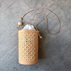 竹細工とヌメ革のカゴポシェット / Tricot tutu bag 01