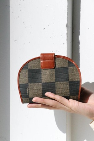 FENDI Plaid round wallet