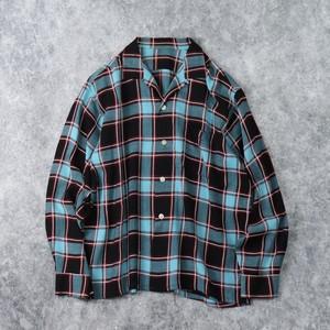 50年代 レーヨン オープンカラーシャツ チェック柄 刺繡 L ヴィンテージ