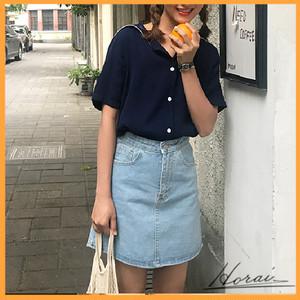 半袖 シャツ レギュラー丈 オープンカラーシャツ 学生風 セーラーカラー ネイビー フレンチ ガーリー 可愛い シンプル