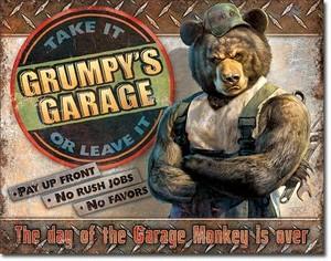 引続きセール主力商品20%OFF!  【ブリキ看板】 Grumpy's Garage  【ティンプレート】2011