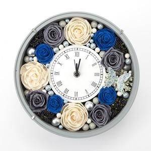 母の日にピッタリ♪アニバーサリーギフトに♪プリザ&ソラフラワーの花時計(Grayish Blue・version)