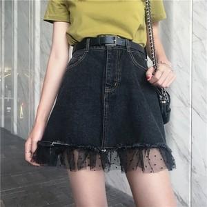 【bottoms】無地カジュアルハイウエストAラインスカート14587804