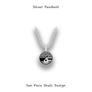 Silver Pendant / Sun Face Skull Design 002
